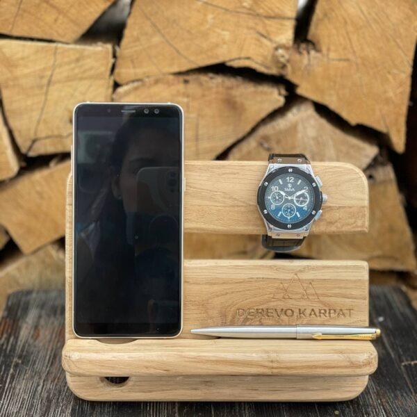 Органайзер для часов и телефона из натурального дерева (дуб) Karpaty Derevo